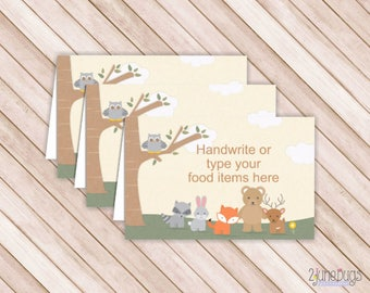 Woodland Forest Animals Buffet Cards, Food Labels, Tent Cards, Place Cards, PRiNTABLE, EDITABLE, INSTANT DOWNlOAD