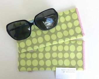 Sunglasses Case - Green Spots