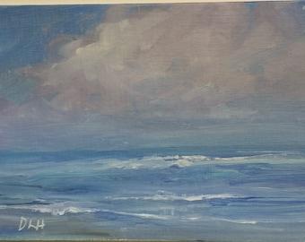 "Original oil painting, beachscape, coastal painting, seascape, ocean art, 5""x7"",  painting of the beach"