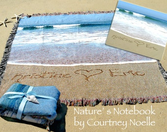 Cotton 2 Year Anniversary Gift -  Blanket with couple's name written in Real beach Sand 100% Cotton Blanket