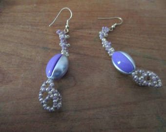 Original strip grey, purple earings.