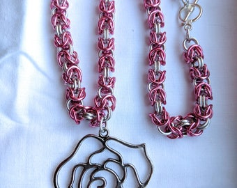Chainmail Pink and Silver Rose Pendant Necklace - Byzantine Weave, Flower, Valentine, Chain Mail, Chainmaille, Chain Maille