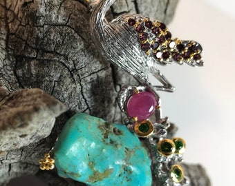 Amethyst Pave Winged Flamingo Sterling Silver Broach with Peridot, Ruby, Sapphire and Turquoise
