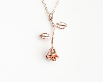 Rose Necklace, Rose Gold, Flower Jewelry, Gifts For Her