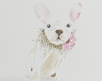 French bull dog watercolor -8x10 watercolor painting