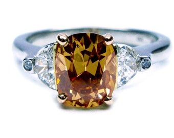 GIA certified 2.27ct Fancy Brown Orange Oval Diamond Engagement Ring GIA certified Platinum Blueriver4747