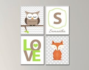 Woodland Nursery Art Prints. Owl And Fox Nursery Art Prints. Love and Baby Name Art. Suits Green and Brown Decor H1073