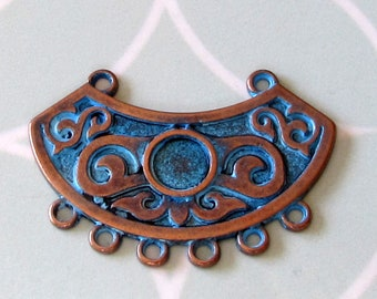 Ethnic Pendant With Loops, Antique Copper & Blue Patina, Boho Pendant AC208