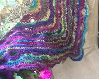 """Handmade Shawl Scarf """"Stained Glass"""" Crochet"""