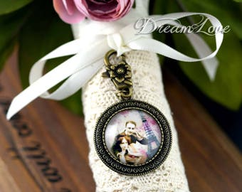 Bridal Bouquet Charm, Personalized Photo Pendant, Victorian Charm, Memorial Charm, Bouquet Photo Charm, Bridal Party Favor, Wedding Gift