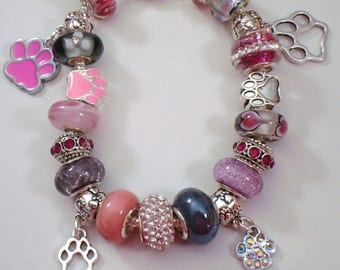 South Paw European paw print charms bracelet Murano pink and silver beads crystal you pick size Help save a cat/kitten