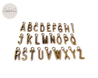 26 charms 6x15mm bronze metal alphabet letters / GQ18