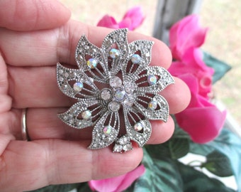 FLOWER RHINESTONE PIN / Brooch * Silver Tone * Gift For Her