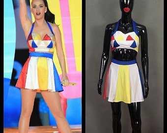MADE TO ORDER Katy Perry at the Superbowl Inspired *Beach Ball* Top and Skirt