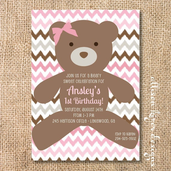 Pink Teddy Bear Invitation Baby Beary Sweet Printable Invite