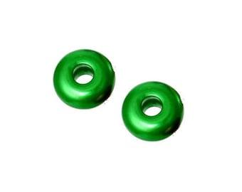 Set of 2 green acrylic beads 18 mm x 9 mm