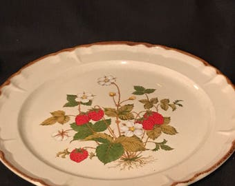 """Vintage Strawberry Platter  """"Strawberry Patch"""" Retro 1970's Platter 12"""" SALE PRICE was 22.00 now 10.00"""