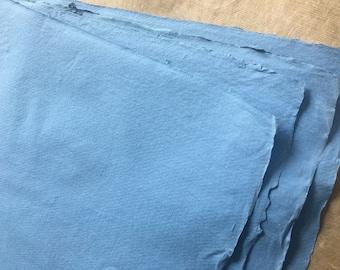 half sheets Blue Cotton Rag Khadi paper, Rough surface 56 x 37 cm 22 x 15 inch Indian 210gsm  handmade paper watercolor charcoal oils pastel