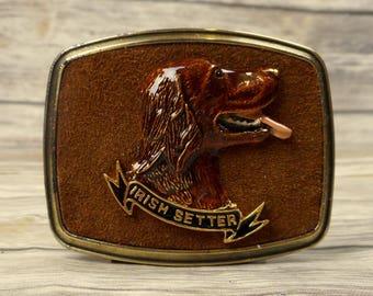 Irish Setter Belt Buckle Raintree 1979 Brown Suede Dog Breed Breeder Vintage