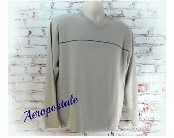 Tan sweater,cotton sweater, preppy Sweater,V neck sweater,unisex Sweater,Aeropostale sweater, Men's Clothing,   # 21
