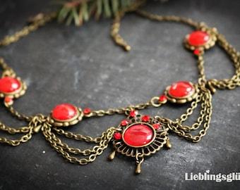 Necklace Art Nouveau Red