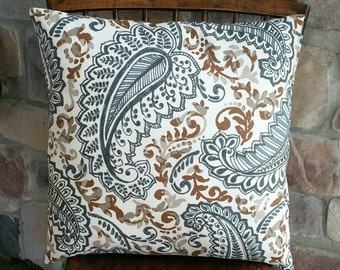 Natural, Brown and Grey Paisley Print Pillow Cover - Various Sizes Avail