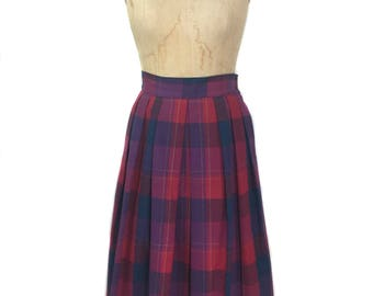 vintage 1990's GIVENCHY Sport plaid skirt / cotton / pink purple blue / pleated skirt / full skirt / women's vintage skirt / tag size 12