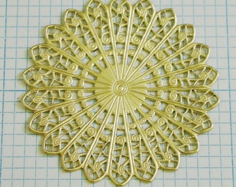 4 Brass 45mm Filigree Discs