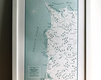 The Oregon Coast, from the Columbia River to Tillamook Bay, Letterpress Map Print