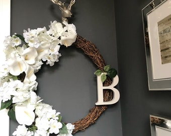White Hydrangea and Cala Lily Monogrammed Wreath