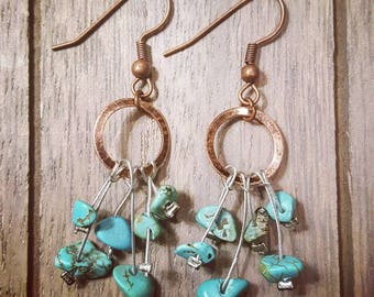 Copper Turquoise Stone Earrings