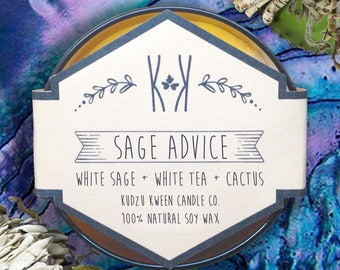 "SOY CANDLE - ""Sage Advice"" - White sage, white tea, cactus"