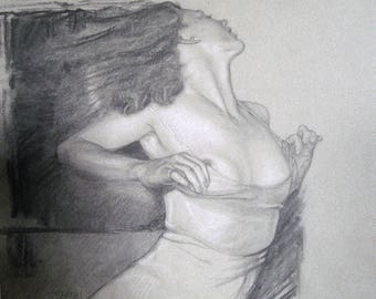 Undone .... a PRINT of the original Charcoal Drawing on Cansen paper 9 by 11 with FREE SHIPPING
