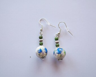 Blue and green floral earrings