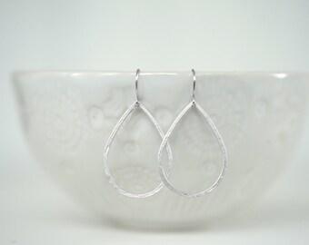 Textured Silver Teardrop Earrings