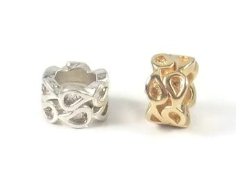Sterling Silver Bead, Charm Bracelet Bead, Silver Bead, European Charms, Large Hole Bead, Charm Bead, Leather Charm, Bracelet Charm