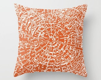 Tree Rings Pillow Cover - Tree Stump Decorative Pillow Cover - Decorative Pillow Cover - Burnt Orange Pillow Cover- includes insert