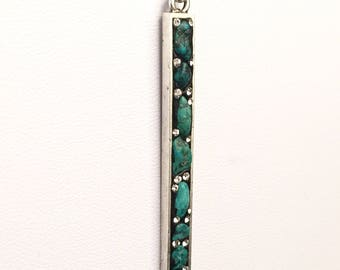 """Turquoise & Silver long bar necklace on 30"""" chain"""