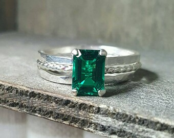 Green Emerald (Lab Created) Sterling Silver Ring Set- 7X5mm
