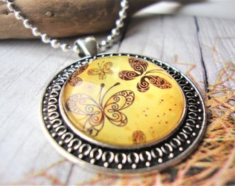 Graphics under glass, butterfly necklace, butterfly medallion, gift for her, butterfly graphic, medallion for her, gift for her