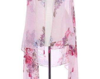 Assorted Colors - Butterfly Rose Print Sheer Vest