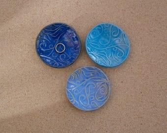 Blue ceramic ring dish - Ceramic ring holder - Trinket bowl with swirls -  Handmade stoneware tealight holder - Green ceramic small dish