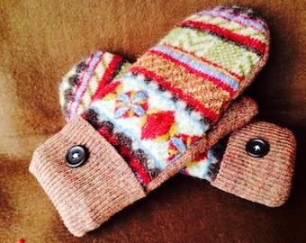 Polar Fleece Lined 100% Wool Mittens, Multicolored Wool Mittens