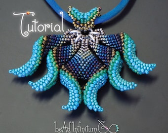 TUTORIAL Kali Beaded Pendant and little bird earrings made with Cellini Peyote Stitch