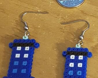 TARDIS 8-bit Jewelry ( Earrings made from Perler Mini-Beads )