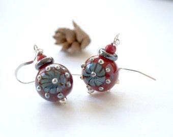 Red Silver Flower Earrings, Crimson Red Earrings, Lampwork Glass Earrings, Starburst Earrings, Unique Artisan Earrings