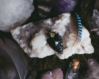 Black Obsidian Arrowhead Wire Wrapped Pendant Antique Gold