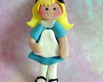 Alice Wonderland Chistmas Ornament Mad Hatter White Rabbit Polymer Clay Milestone 1st Birthday Cake Topper Queen Hearts Fairytale Storybook