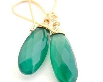 Green Onyx earrings, 14k Gold filled earrings, Dangle green earrings, Green Onyx jewelry, Bridal earrings