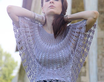 """Knitted tunic from natural silk """"Sorbetto di bacca"""""""